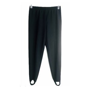 Vntg 80s Stirrup Pants Textured Knit Elastic Blk S